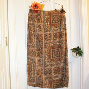 TALBOTS 16 Maxi Wrap Skirt Faux Suede Buckle